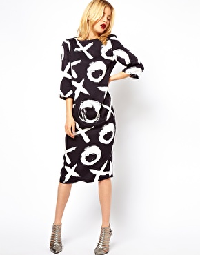 ASOS | ASOS Midi Shift Dress in Mono Print at ASOS