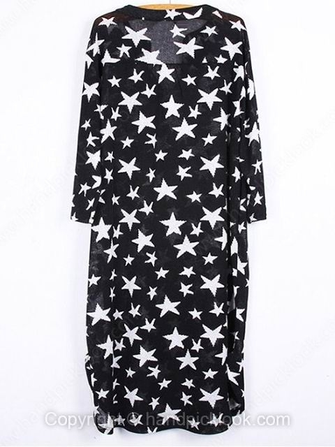 Black V-neck Half Sleeve Star Print Dress - HandpickLook.com