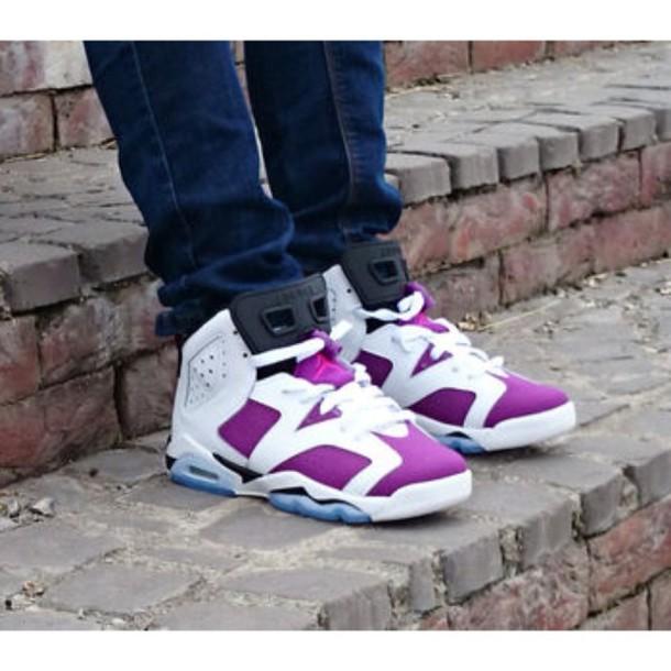shoes sneakers jordans jordans purple cool style