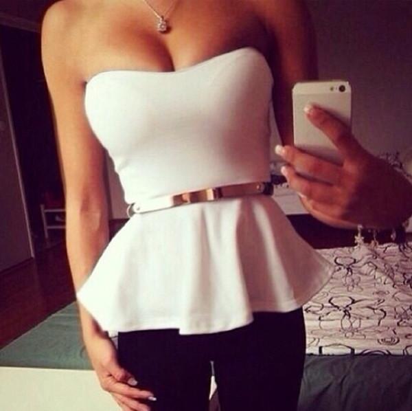shirt white gold belt strapless top