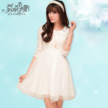 2013 summer white slim lace one piece dress peter pan collar long sleeve dress-inDresses from Apparel & Accessories on Aliexpress.com