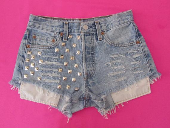 FrEE ShiPpiNg waist 26 high waist denim shorts by FierceOvaries