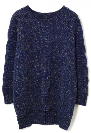 Candy Dots Cable knit Sweater in Navy Blue - Retro, Indie and Unique Fashion