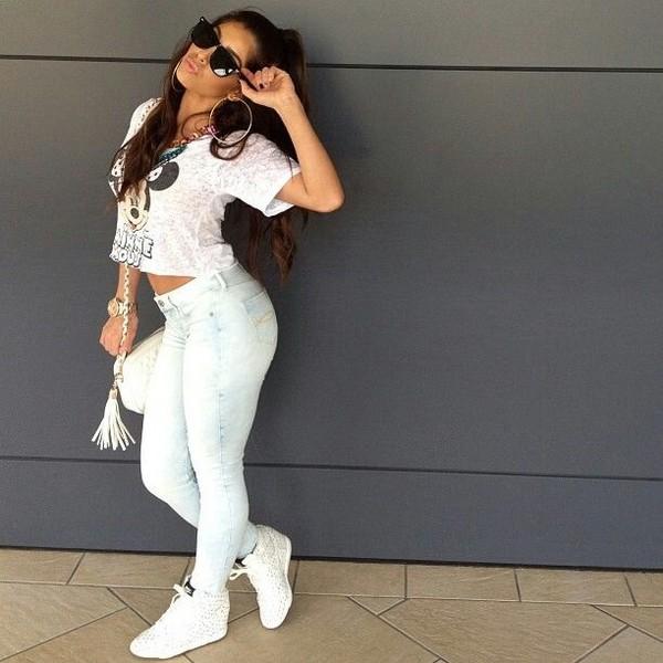 shoes wedges white cute summer jeans t-shirt urban shirt