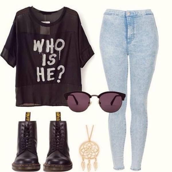 jeans shirt shoes