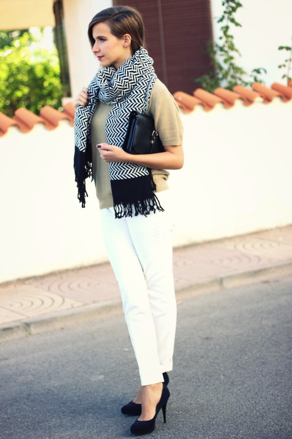 fashion quite sweater pants scarf bag shoes