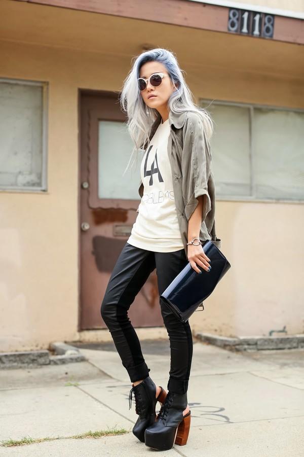 feral creature tank top jacket jeans bag sunglasses