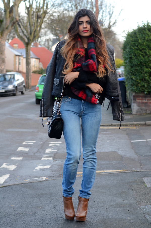 she wears fashion scarf jacket sweater jeans shoes