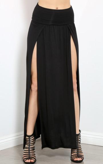 Double Side Slit Maxi Skirt    MakeMeChic.com