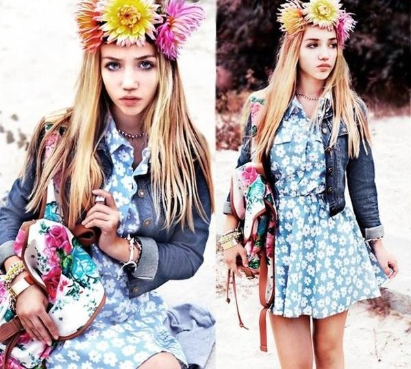 dress aksinya air floral dress backpack bag denim jacket jacket flower crown self made flower crown jewels ukraine