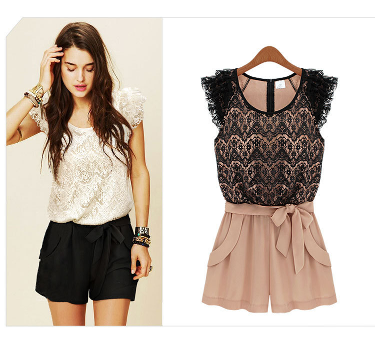 Dresses new 2013 fashion white/black Splice lace Women novelty  Plus Size casual vintage Summer print dress  (with belt)3724FWG-in Dresses from Apparel & Accessories on Aliexpress.com