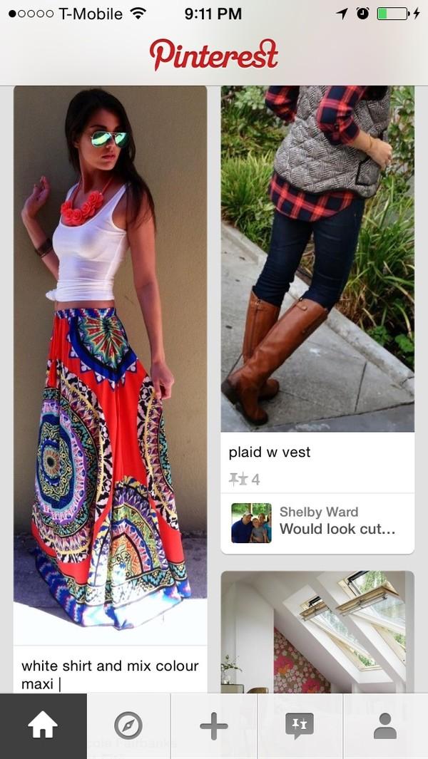 skirt long colorful boho maxi