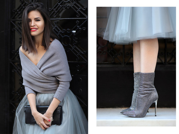 fake leather blogger off the shoulder sweater grey sweater tulle skirt pouch boots silver sweater top skirt shoes bag jewels black pouch