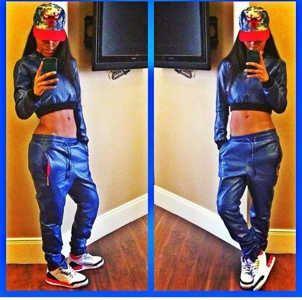 pants jordans chicago bulls leather pants long hair black red leather teyana taylor ballin shirt shoes hat