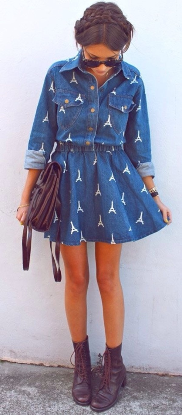 dress eiffel tower brown shoes