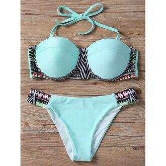 swimwear blue mint fashion bikini summer beach sexy rose wholesale