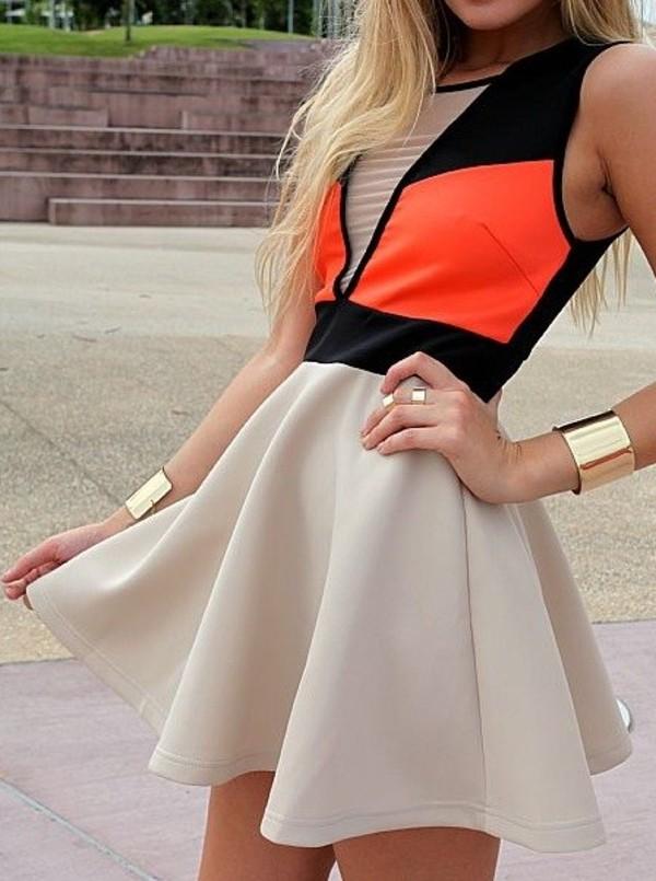 dress colorblock nude orange black jewels nude dress pop of color neon dress skater dress neon orange beige skirt short dress colorblock dress beige dress coral dress summer dress