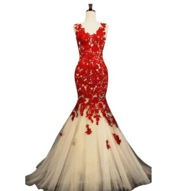 dress red lace dress