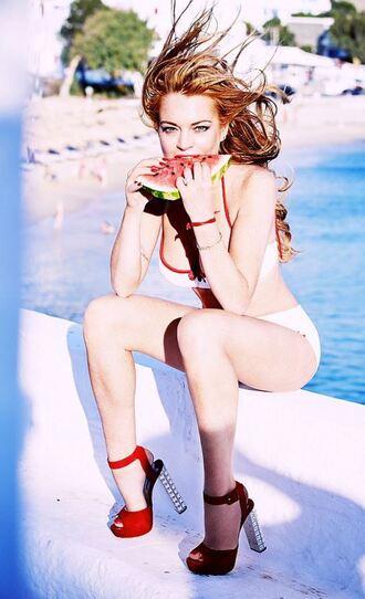 shoes sandals bikini bikini top bikini bottoms lindsay lohan summer beach
