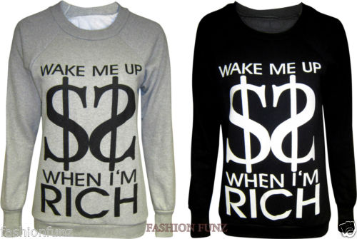 NEW WOMEN'S LADIES COMIC FUNNY SLOGAN WAKE ME UP PRINTED SWEATSHIRTS JUMPER | eBay