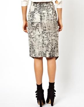 ASOS | ASOS Pencil Skirt In Mono Abstract at ASOS