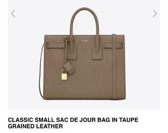 bag taupe colour beige purse yves saint laurent saint laurent nude bags and purses leather bag handbag