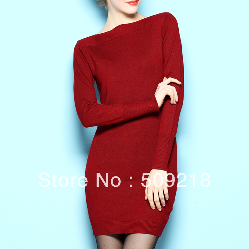 Free shipping fashion slit neckline medium long basic women's sweater dress yarn one piece dress -inDresses from Apparel & Accessories on Aliexpress.com