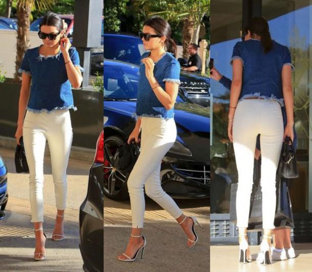 top crop tops kendall jenner pants sandals shoes denim jeans
