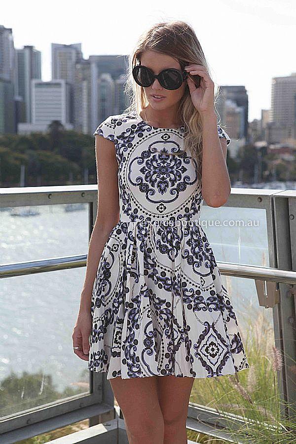 PAISLEY PRINT DRESS  , DRESSES, TOPS, BOTTOMS, JACKETS & JUMPERS, ACCESSORIES, 50% OFF END OF YEAR SALE, PRE ORDER, NEW ARRIVALS, PLAYSUIT, COLOUR, GIFT VOUCHER,,Blue,White,Print,SHORT SLEEVE,MINI Australia, Queensland, Brisbane
