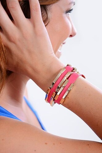 jewels accessories pink bracelets pink and gold pink and gold bracelet wrap bracelet