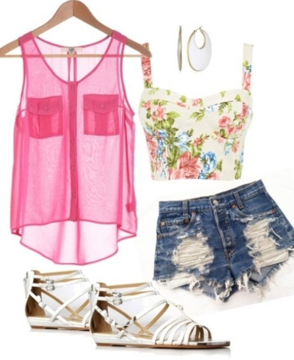 shorts blouse shoes tank top collocation clothes top fashion denim pink floral