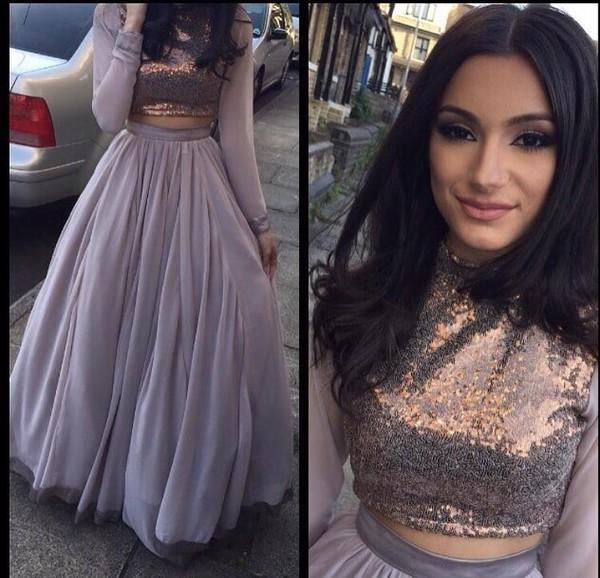 Dress Grey Sequins Skirt Long Two Piece Waliyha