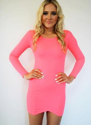 Coral Long Sleeve Bodycon Dress with Asymmetrical Hem on Wanelo