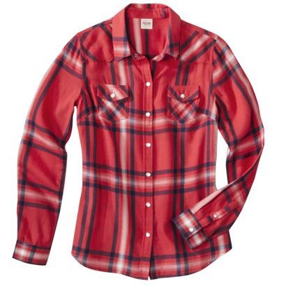 Mossimo Supply Co. Juniors Long Sleeve Plaid Shi... : Target
