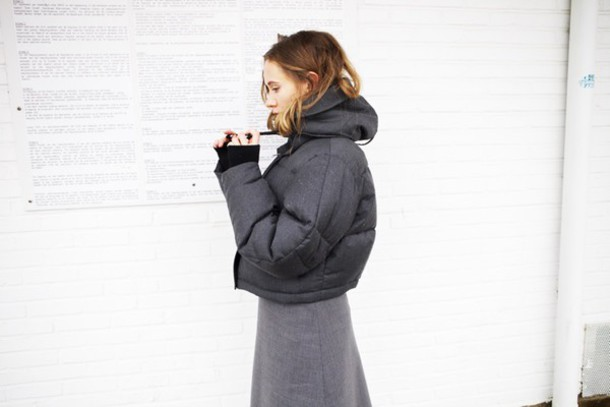 vasilieva blogger down jacket charcoal grey dress winter swag