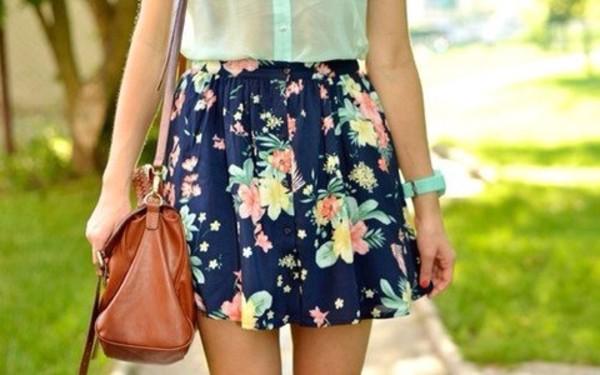 skirt flowers blue skirt