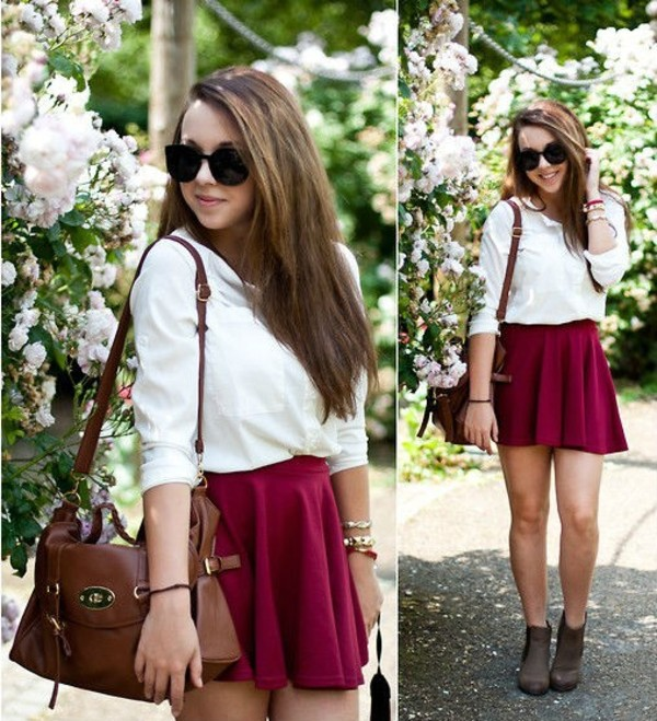 skirt fashion colorful shirt purse shoes high heels girly tumblr girl twitter instagram women blouse cold infinity