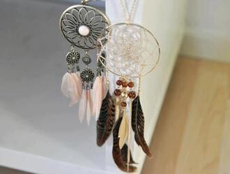jewels attrape reve dreamcatcher plume perles feathers feather drop fan necklace feather necklace boho jewelry jewelry boho boho chic bohemian necklace dreamcatcher necklace