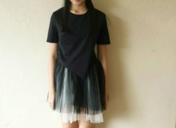 skirt black and white chiffon tutu skirt adult