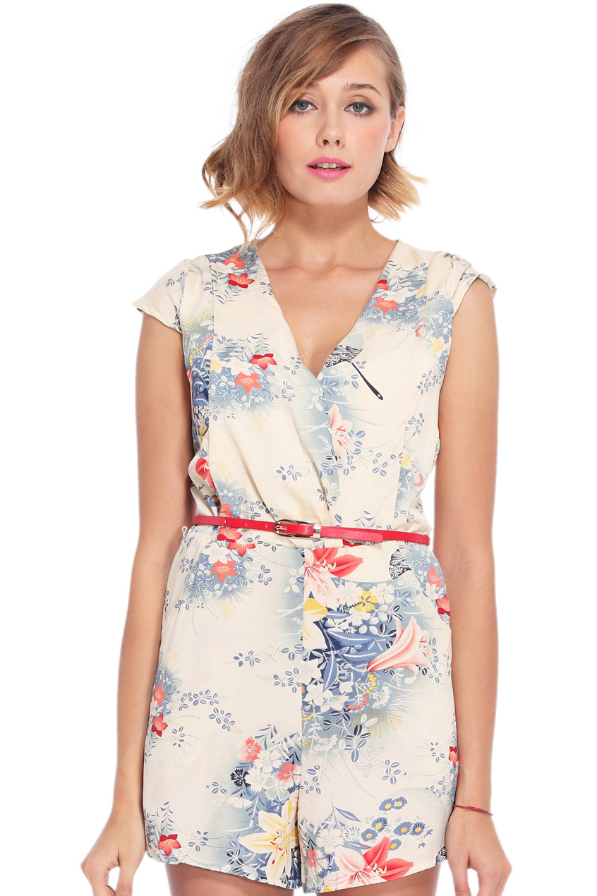 ROMWE | V-neck Cream Floral Jumpsuit, The Latest Street Fashion