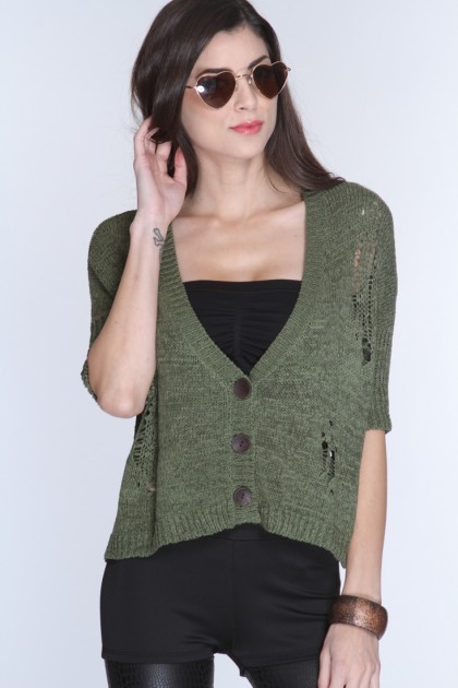 Olive Open Knit Loose Fit 3/4 Sleeve Sweater @ Amiclubwear Clothing,sexy club wear,women's party wear,sexy clothes,evening dress,v neck sweater dress,mini sweater dress,cashmere sweater set,women's turtleneck sweaters,short sleeve turtleneck sweaters,swea