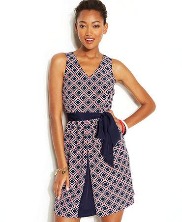 Zooey Deschanel for Tommy Hilfiger Sleeveless Diamond-Print Dress - Dresses - Women - Macy's