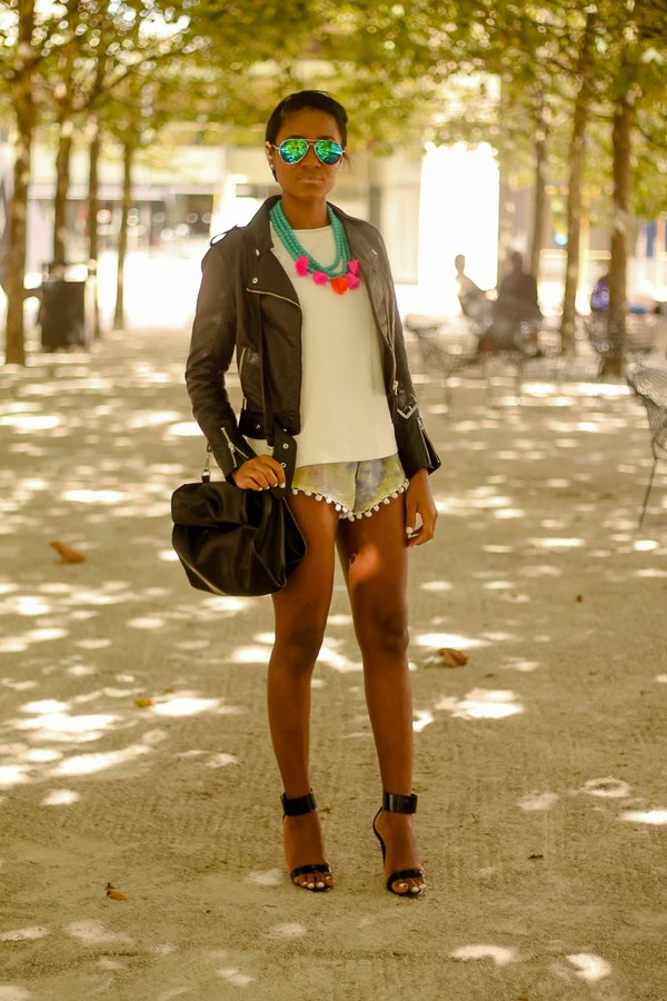 the daileigh t-shirt jacket shorts bag sunglasses shoes jewels