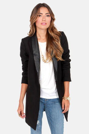 BB Dakota Blair Coat - Black Coat - Boyfriend Jacket - Oversized Jacket - $115.00