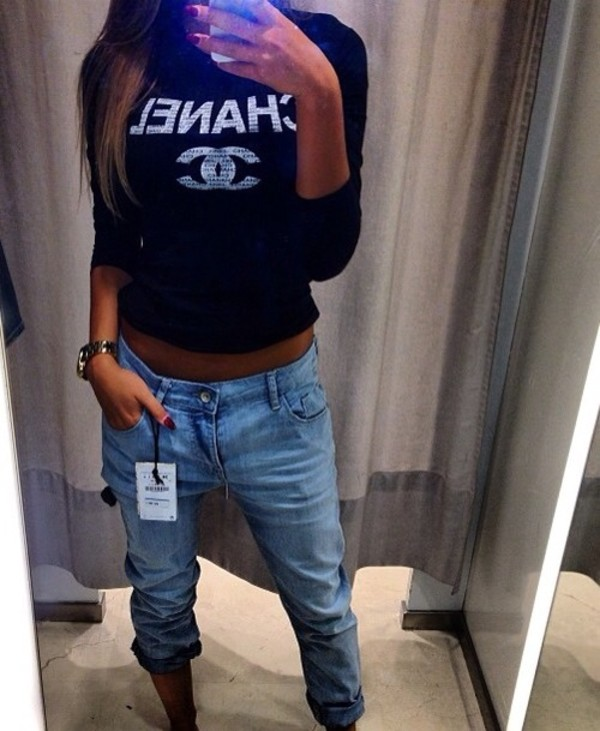 sweater jeans chanel jumper crop tops