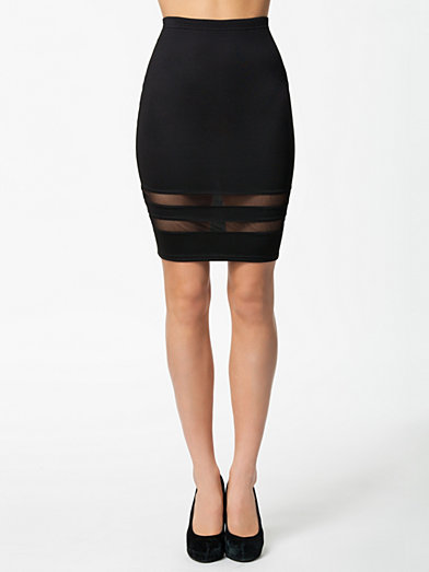 Mesh Insert Skirt - Oneness - Black - Skirts - Clothing - Women - Nelly.com