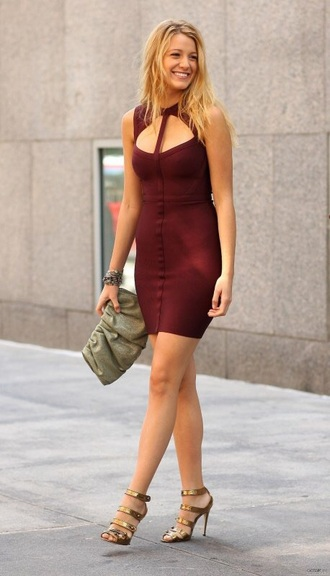 dress blake lively blake lively dress serena van der woodsen burgundy dress gossip girl mini dress
