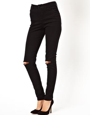 ASOS | ASOS High Waisted Skinny Pants with Ripped Knee at ASOS