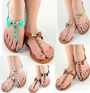 Womens Summer Sandals Bow Design Gladiator T Strap Flat Shoes Teal Black White | eBay