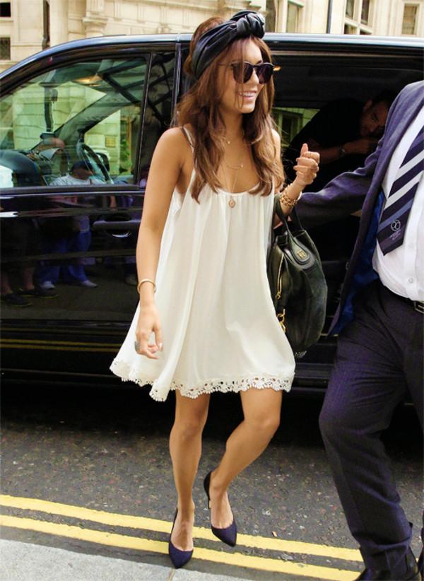 dress girly rosy white short details flowers cute vanessa hudgens white dress cute dress